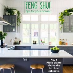 If you enjoyed this tip and would like more Feng Shui tips to keep watching our social media pages! Grey Kitchen Cabinets, Ikea Kitchen, Kitchen Items, Home Decor Kitchen, Cupboards, Kitchen Photos, Kitchen Cleaning, Wall Cabinets, Kitchen Counters