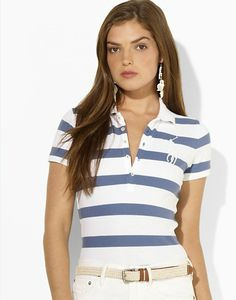 polo ralph lauren outlet Women\u0026#39;s Wide-Striped Big Pony Short Sleeve Polo Shirt Essex Cream
