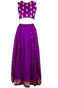 Purple embellished crop top with ikat skirt BY NISHKA LULLA. Pretty little thing