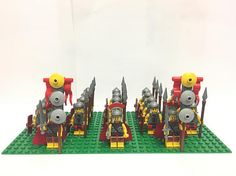 Roman Army Minifigs Fighters Commander Soldiers + 16x32 Green colour base plate