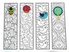Print and color - Cute Nature Bookmarks PDF Zentangle Coloring Page - bee, mushroom, bird, tree