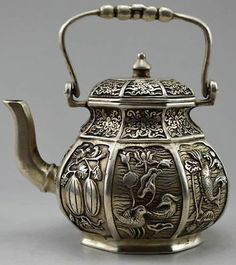 Collectible Decorated Old Tibet Silver Carved Flower, Bird, Fish, Fruit, Tea Pot