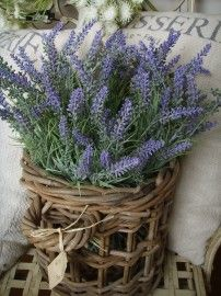 fresh lavender bouquet in a rustic basket for outdoor decoration