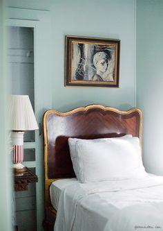 Michelle at Home / Michelle Smith, Interiors, Sag Harbor / Garance Doré Home Bedroom, Bedroom Decor, Bedroom Ideas, Master Bedroom, Teal Walls, Color Walls, Up House, Beautiful Interior Design, Guest Bedrooms