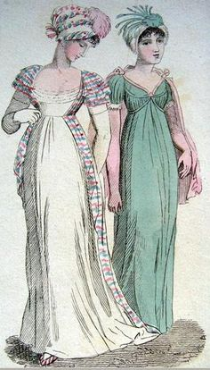 1802 Lady's monthly museum afternoon dress Payne Dressmakers Old Bond St Regency Dress, Regency Era, Vintage Outfits, Vintage Fashion, Vintage Clothing, 1800s Clothing, 1800s Fashion, Edwardian Fashion, Vintage Style