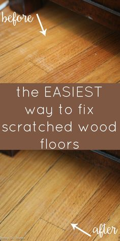 Life / house hacks How to Fix Scratched Hardwood Floors in No Time! - Average But Inspired When I go Scratched Wood Floors, Old Wood Floors, Cleaning Wood Floors, Refinishing Hardwood Floors, Wood Laminate Flooring, Diy Flooring, Clean Hardwood Floors, Diy Hardwood Floor, Cheap Wood Flooring