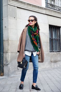 Loafers-Buylevard-Camel_Coat-Sweatshirt-Floral_Scarf-Style-Outfit-19 | Flickr - Photo Sharing!