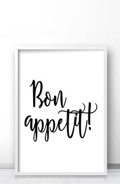 Bon appetit printable wall art, Kitchen typography print, Black and white dining room decor