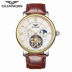 2016 Men Watches Luxury Top Brand GUANQIN Sport Watch Leather Gold Clock Men Tourbillon Automatic Wristwatch With Moon Phase Just look, that`s outstanding! fashion gift for him gift for man gift ideas gift id Sport Watches, Cool Watches, Watches For Men, Men's Watches, Luxury Watches, Watches Online, Trendy Fashion, Mens Fashion, Fashion Trends