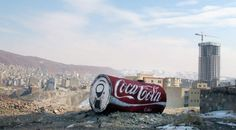 """Mahmoud Ahmadinejad declared a ban on key American companies like Coca-Cola? Icy And Sot (Iranian """"stencil artists"""") have coke for you In Tabriz, Iran."""