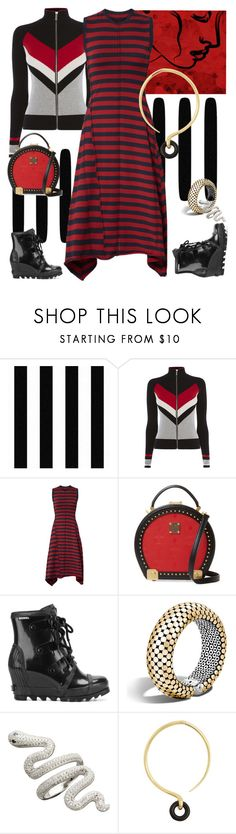 """""""Red & Black Stripes"""" by petalp ❤ liked on Polyvore featuring Jason Wu, MCM, SOREL, John Hardy and Charlotte Chesnais"""