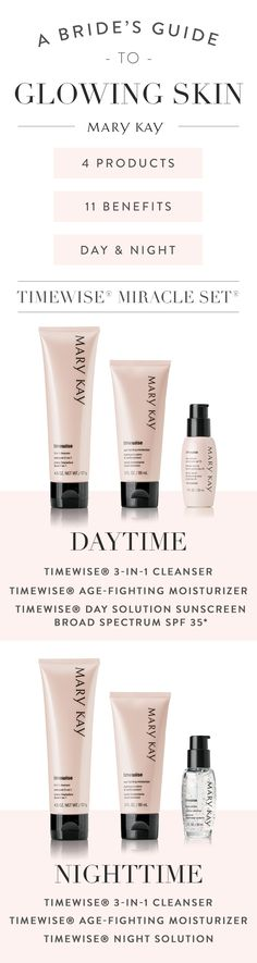 Here comes the glowing bride! Our bestselling TimeWise® Miracle Set® boasts 11 age-defying benefits, for use day and night.   Mary Kay