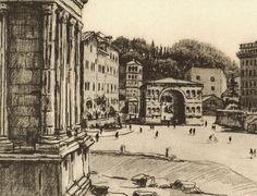 Stonebreaker Fine Art Gallery - Lithograph: Roma - Roma Il Tempio della Fortuna Virile e L'Arco di Giano, $35.00 (http://www.aliciajstonebreakergallery.com/lithograph-roma-roma-il-tempio-della-fortuna-virile-e-larco-di-giano/)