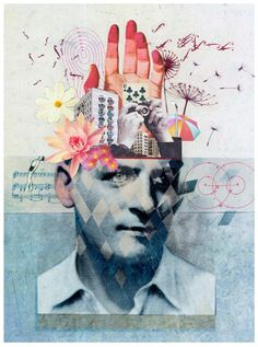 "Fine/Applied Art by Martin O'neill- ""The Folio Society,"" collage illustration, dimensions unknown. This collage is very intriguing. The man's head is exploding with various objects.perhaps he has too much on his mind. Mixed Media Photography, Creative Photography, Art Photography, Collages, Photomontage, Collage Design, Design Art, Pop Art Collage, Collage Foto"