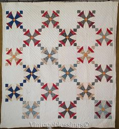 Very Good! ANTIQUE c1880s Maltese Cross QUILT Beautiful Fabrics