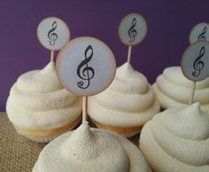 Music Note Mini Cupcake Toppers or Food Picks by LazyDayCottage, $12.95