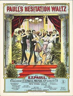 Paull's HESITATION WALTZ 1914 E T PAULL Lithograph Sheet Music BEAUTIFUL