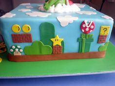 super mario bros cake - this one makes mine look a little less cool, but I want to believe my fondant cutouts were almost this good! Mario Birthday Cake, Harry Birthday, Super Mario Birthday, Super Mario Party, 6th Birthday Parties, Birthday Ideas, 10th Birthday, Birthday Cakes, Yoshi