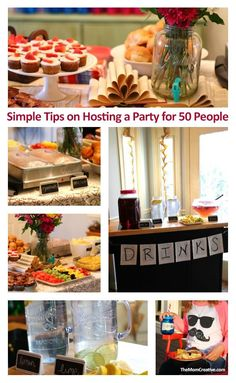 Simple tips on hosting a party for 50 people - from food planning to decor, this post is a great party resource.