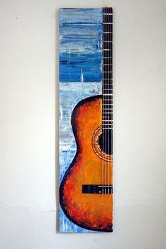 Waves from Almería original guitar art guitar von Sunitalap auf Etsy - Guitar Painting, Music Painting, Guitar Art, Guitar Drawing, Small Canvas Art, Acrylic Art, Painting Inspiration, Wood Art, Art Lessons