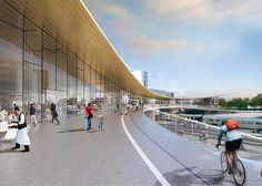 The Västerås Travel Center by Bjarke Ingel's firm BIG will bring together trains, buses, taxis and bicycles as part of an ambitious redevelopment plan for the city's main railway station