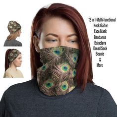 12 in 1 Multi-functional Neck Gaiter / Face Mask – protects against the sun providing a cooling effect on hot days too! Came and check! Our Etsy Shop has over 400 Gaiters to choose! Etsy HelsinkiFashionVibes Fashion Neck Gaiters #gaiter #balaclava #Peacockgaiter #stylishgaiters #womenfacemask #womengaiter #ladiesgaiterneck #neckgators #neckbuff #sunprotection #summerfacemask #festivalfacemask #scarf #beanie #birdfacemask #face #cover #bandana #headband #facemask #facecovering Peacock Bird, Black Neck, Half Face Mask, Bohemian Design, Fashion Face Mask, Head Wraps, Hair Band, 13 Days, Balaclava