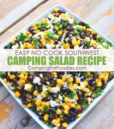 Easy No Cook Healthy Southwest Camping Salad Campsite meals can't get any more simple than doing camping side dishes you make ahead at home! Our CampingForFoodies Easy No Cook Healthy Southwest Camping Salad Recipe is one of those camping side dishes easy Camping Bbq, Camping Lunches, Best Camping Meals, Make Ahead Meals, Camping Hacks, Tent Camping, Camping Ideas, Campsite, Outdoor Camping