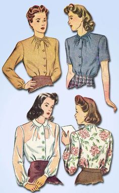 1940s Vintage Simplicity Sewing Pattern 4814 Misses Easy WWII Blouse Size 14 32B