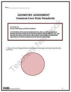 Geometry 2nd Grade Assessment by Innovative Teacher