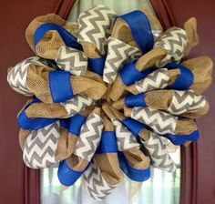 Blue & Chevron Burlap via Etsy