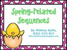 This activity consists of 6 Spring-related activity sequences. These are great for follow-up review, sequencing events, and practicing retell using cohesive ties (then, next, after that, etc.) Sequences Included:-A Hatching Chick-Catching a Butterfly-Catching a Leprechaun-Butterfly Lifecycle-Frog Lifecycle-Dying Easter EggsAdorable pictures are included for non-readers!