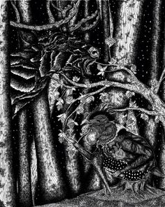 #art #artwork #illustration #ink #blackandwhite #talking #night #deer #chicken #woods #trees