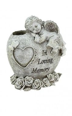 "Sleeping Baby Angel Memorial Statue Vase - In Loving Memory BUY ANGEL MEMORIALS HERE! - Is inscribed with the words ""In Loving Memory""...6½"" High...Holds a handful of flowers...Made From Durable, Unbreakable, Polyresin..Orders: 1-800-417-9872."