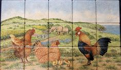 """Sharon's Welsh Farmhouse & Chickens"" Peaceful rural scene with an English style thatched roof cottage, farmhouse with chickens and rooster roaming about. The scene is loosely based on town of Criccieth, Llyn Peninsula in Northwest Wales. Custom designed, hand painted tiles kitchen backsplash mural."