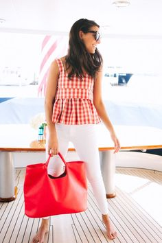 Red gingham is perfect for spring. 4th of July outfit. 4th of july . Tie dye. red white and blue outfit. Summer outfit. fourth of july outfit. Summer style. Summer trends. THE JOY OF J.