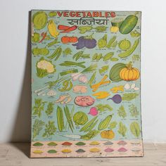 vintage vegetables chart poster from India Joy Of Cooking, Cooking With Kids, Children Cooking, Vegetable Chart, India Poster, Restaurant Poster, Vintage India, Tech Accessories, Cool Kitchens