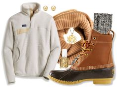 Preppy style, winter, bean boots, monogram necklace, scarf, patagonia, fleece, pullover, pearl earrings, j crew, cam socks, sorority, white, brown, grey, cream, gold