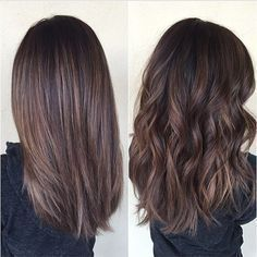 Chocolate brown hair with balayage, medium-length. Shown straight and curly.