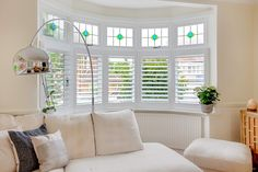 shutters for bay window Bay Window Living Room, Home Living Room, Living Room Decor, Living Spaces, Dining Room, 1930s House Interior, Interior Design Living Room, Living Room Designs, Bay Window Shutters
