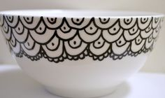 Hand Painted Black and White Ceramic Art Bowl by DreamAndCraft, $23.00