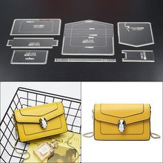 Details about Wallet Leather Craft Acrylic Bag Backpack Pattern Stencil Template Tool DIY Set - Diy Wallet Leather Gifts, Leather Bags Handmade, Handmade Bags, Leather Craft, Leather Bag Tutorial, Leather Wallet Pattern, Backpack Pattern, Handbag Patterns, Leather Accessories