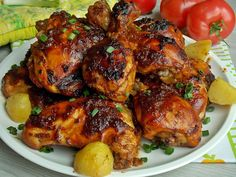 Pieczony kurczak w sosie barbecue – KuchniaMniam Polish Recipes, Tandoori Chicken, Poultry, Food And Drink, Beef, Ethnic Recipes, Places, Products, Meat