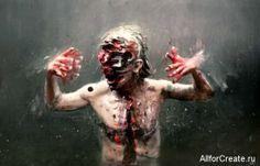 Olivier de Sagazan скульптуры, видео и картины ужаса - галерея