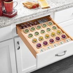 K-cup drawer organizer Stainless Steel Bins, Classic Cabinets, Pull Out Shelves, Kitchen Storage Solutions, Drawer Organisers, Cabinet Drawers, Cabinet Styles, Staying Organized, Wood Cabinets