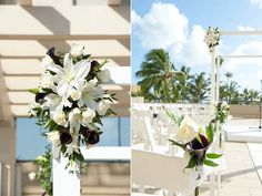 Unique altar and aisle floral detials for a tropical wedding