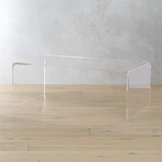 """peekaboo acrylic tall coffee table - 44"""" x 24"""" x 16""""h - $499 (less 15% is $424.15) - nestle gold ottoman under this"""