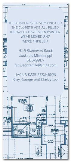 Blueprints - Party Invitations by Invitation Consultants. (Item # IC-PH-5162 )