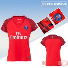 Newest Cool Paris Saint Germain Red 2016/17 Away Womens Replica Jersey   Personalised Replica