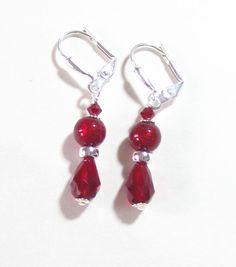 Murano Glass Red Teardrop Silver Earrings Venetian by JKCJewels, $22.00