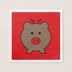 ~ Roy the Christmas Pig Napkin
